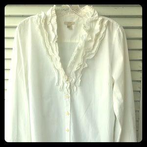J Crew Ruffled White Shirt - Size 14